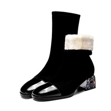 Kadın kış chelsea çizmeler hakiki deri ayak bileği dantel kalın topuk çizme kadın kısa siyah çizmeler 2019 kadın botları(China)