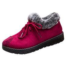 Kadın yarım çizmeler pamuklu ayakkabılar artı kadife kalın sıcak yürüyüş kar botları rahat katı renk sığ iş ayakkabısı chaussures(China)