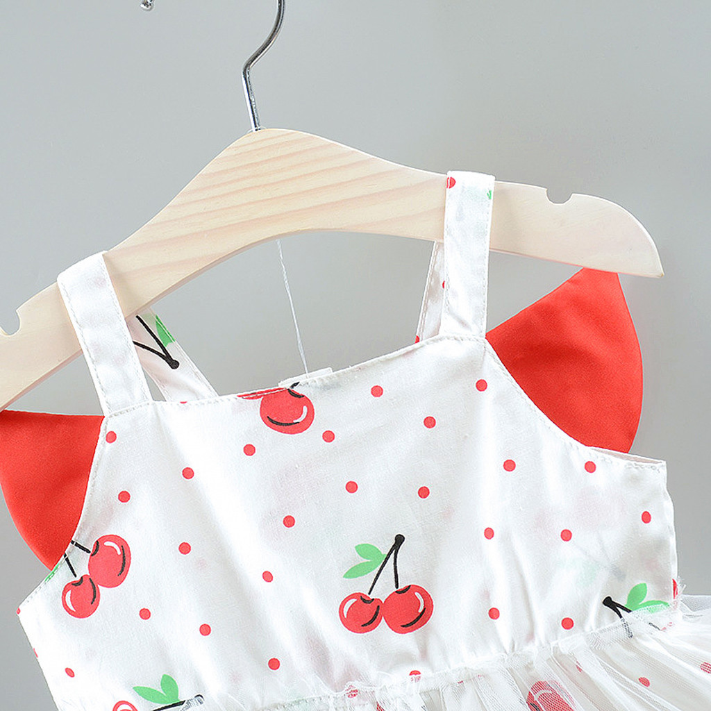 Toddler Kid Baby Girl 3D Wing Fruit Print Tulle Party Princess Dress Clothes