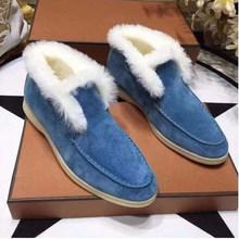 Winter Wolle Frauen Schnee Stiefel Hohe Qualität Skidproof Flache Schuhe Frauen Slip Auf Khaki Schwarz Stiefel Runway Warme Kurze Stiefel femme(China)