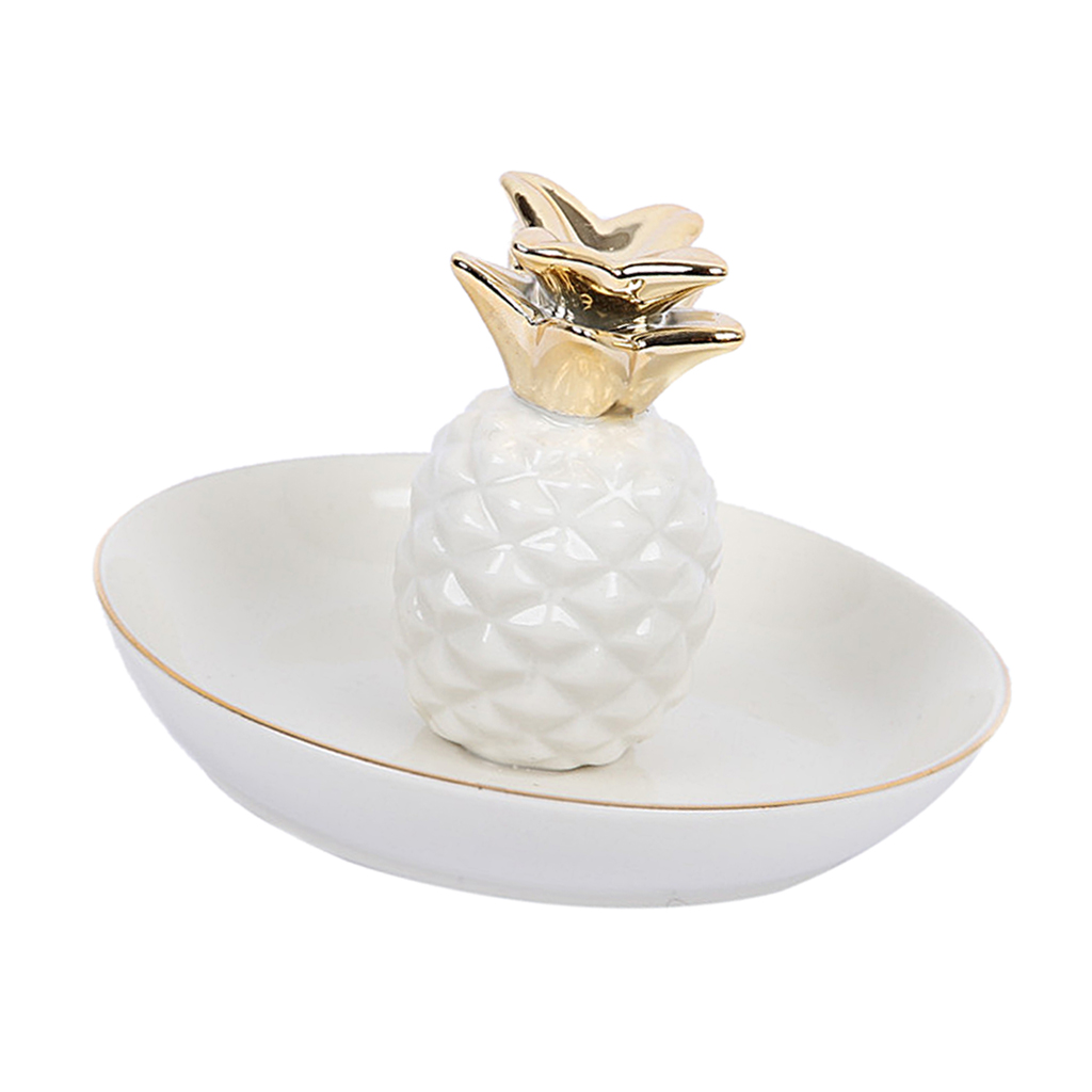 White Porcelain Ceramic with Gold Edge Tray Ananas Dish Key Trinkets Ring Holder Room Decor Plate
