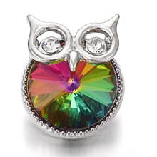 6 Pcs/lot 2020 Baru Snap Tombol Perhiasan Gelang Pesona Logam Kristal Berlian Imitasi Burung Hantu Fower 18 Mm Snap Tombol Cocok DIY snap Gelang(China)