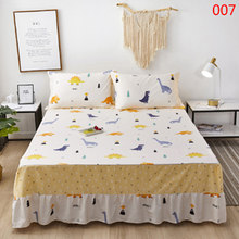Bedroom Cartoon Cotton Bed Skirt Mattress Cover Petticoat Twin Full Queen King Bedclothes Bed Skirts Bedspread Bedding Home textile bed linings Bed use carrot dinosaur blue(China)