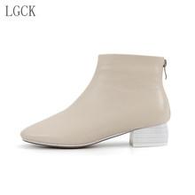 Artı Boyutu 34-43 Hakiki Deri Kadın Ayakkabı Moda Ayak Bileği Martin Çizmeler Kare Ayak Düşük Topuk Patik Martin Çizmeler rahat Bayanlar(China)