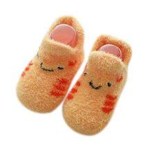 Детские носки с резиновой подошвой для новорожденных девочек и мальчиков; сезон осень-зима; детские носки-тапочки; противоскользящая обувь;...(China)