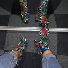 Frauen Zip Peep Toe Stiefeletten Herbst Neue Damen Snakeskin Starry Sky Plattform Dicke High Heels Weibliche Mode Frühjahr Sonne schuhe(China)