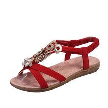 Frauen Schuhe Mode Boho Sandalen Leder Flache Damen sandalen dames chaussures femme ete 2019 buty damskie sandali donna(China)