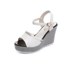 Marke Sommer frauen Sandalen Plattform Keile Strass Wasserdicht Sandalen Super High Heel Schwarz Streifen Mode Strand Schuhe(China)