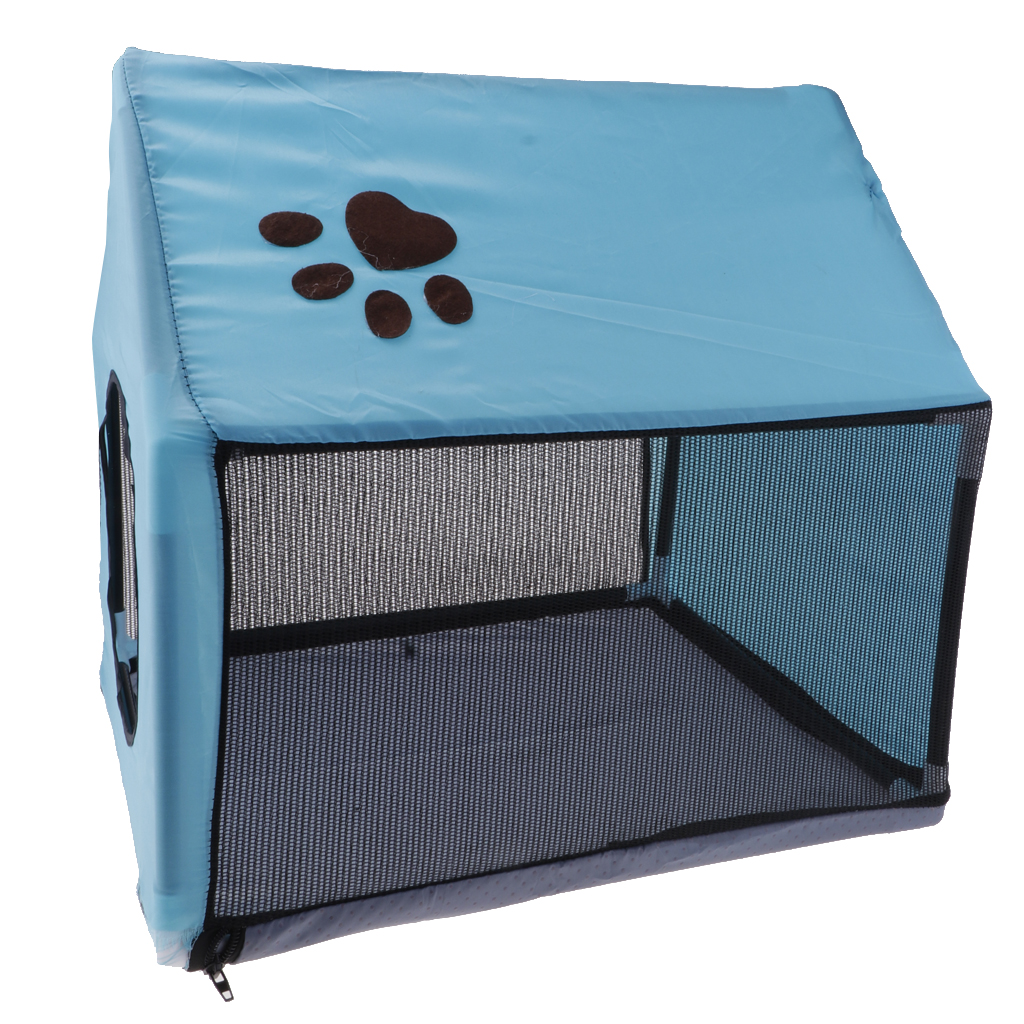 Breathable Indoor Dog House Pet Summer Doghouse Puppy Shelter Bed Mat -Blue