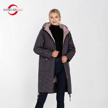 Современное новое сага высококачественное женское теплое пальто с капюшоном тонкая хлопковая стеганая повседневная куртка женские парки ...(China)