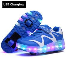 גלגלי כתום USB טעינה אופנה בנות בני LED אור רולר סקייט נעליים לילדים ילדים סניקרס עם גלגלים שני גלגלים(China)