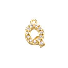 ZHUKOU 8x8.5mm laiton cubique zircone cristal 26 lettre breloques pendentifs pour femmes collier boucle d'oreille bijoux accessoires modèle: VD545(China)