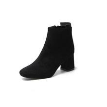 STQ 2019 moda siyah kadınlar için kar botları kalın topuklu kışlık akın çizmeler yüksek topuklu fermuar kürk peluş çizmeler bayanlar 1085(China)