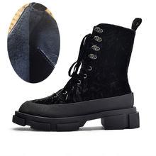Prova Perfetto Zwarte Vrouwen Enkellaarsjes Dikke Hak Klimplanten Rijlaarzen Lace Up Herfst Botas Mujer Platform Laarzen Rubber Schoenen(China)