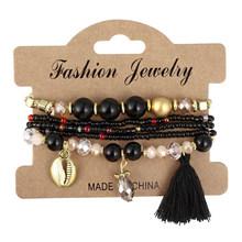amazing price 3-4pcs/set Fashion Boho Bracelets & Bangles Women Beaded Bracelet With Colorful Gem Long Wrap Bracelet for Women(China)