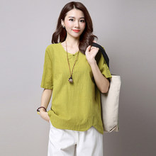 Verano Mujer koszulki 2020 V-Neck kobiet T-shirt kobiety Plus rozmiar letnie koszulki damskie Vintage bawełniana koszulka WXF102 s(China)