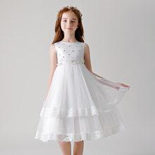 Новинка 2020 года; Элегантное свадебное платье с цветочным узором для девочек; Детское белое кружевное платье принцессы с жемчужинами; Детско...(China)
