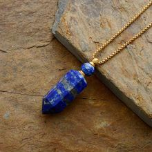 Tự nhiên đá quý đá Khuếch Tán Tinh Dầu Lọ Nước Hoa Mặt Dây Chuyền vòng cổ trang sức inox Dropshipping(China)