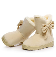 Giày Bốt Nữ Nữ Mùa Đông Giày Ấm Sang Trọng Bowtie Lông Da Lộn Phẳng Trơn Trượt Trên Mắt Cá Chân Ủng Nam Nữ Thời Trang nền Tảng Đen()