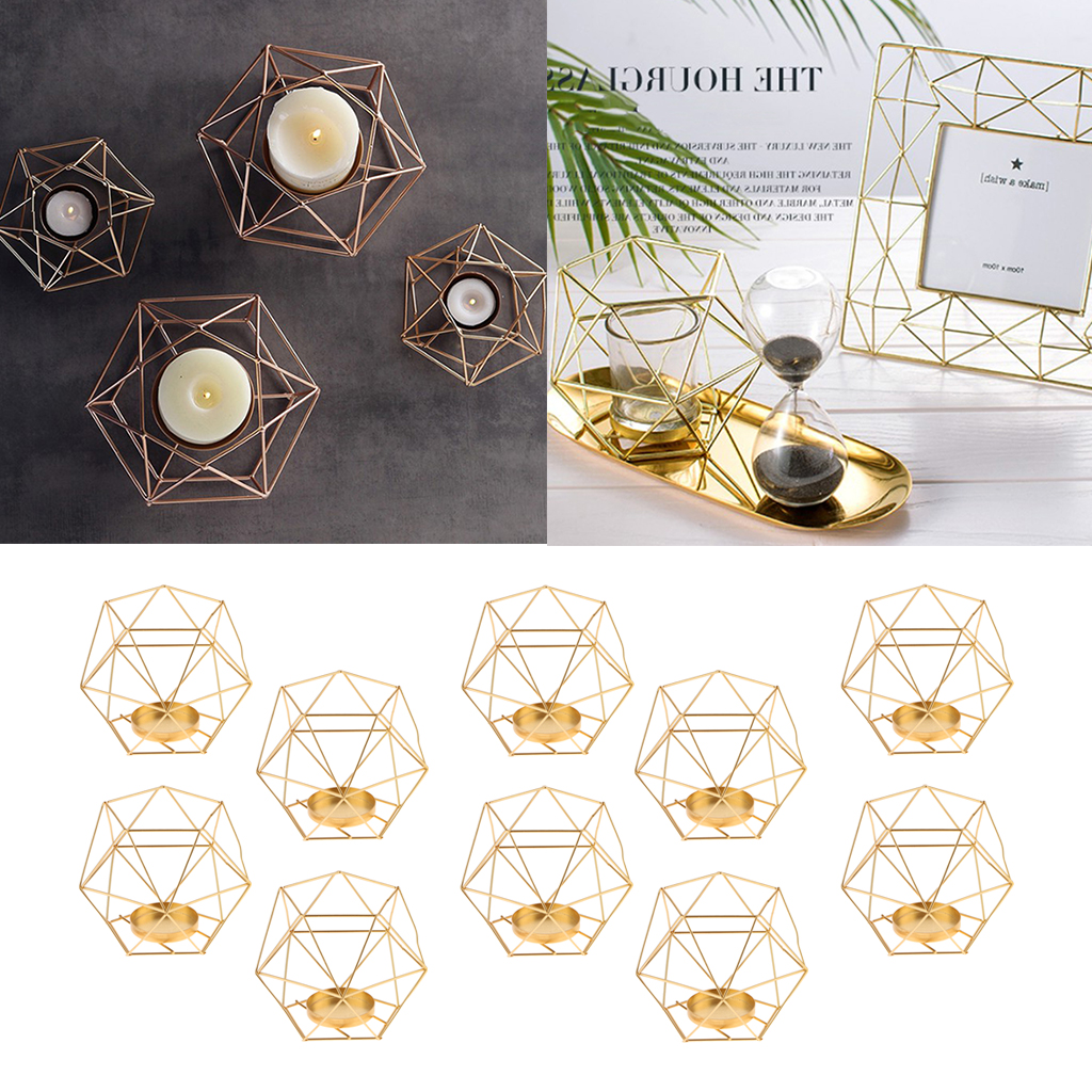 10pcs Geometric Polished Tealight Candle Holder Table Top Centerpiece Weddings Events Parties Dinner Table Decor Gold Candles Aliexpress