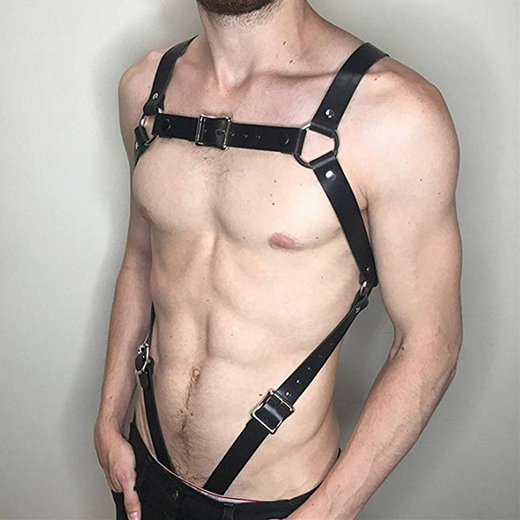 Men's Chest Body Harness Leather Cosplay Clubwear Underwear Costume