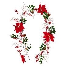 Ягодная Рождественская гирлянда, искусственные цветы, листья, красная ягода, передняя дверь, настенная гирлянда, украшение для рождественс...(Китай)