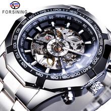 Forsining 2019 acier inoxydable étanche hommes squelette montres haut marque de luxe Transparent mécanique Sport hommes montres-bracelets(China)