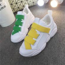2019 İlkbahar Sonbahar Kadınlar Yastığı Sneakers Ayakkabı Spor Koşu Platformu Sneakers Kadınlar için Sarı Nefes Örgü Çorap Botları(China)