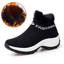STQ 2019 Winter Frauen Stiefel Plattform stiefeletten frauen schwarz warme pelz oberschenkel hohe socke stiefel schuhe frauen wandern stiefel 1857(China)