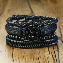 Vnox mix 3-4 pçs/conjunto trançado wrap pulseiras de couro para mulheres masculinas vintage poker charme contas de madeira étnica tribal pulseiras(China)