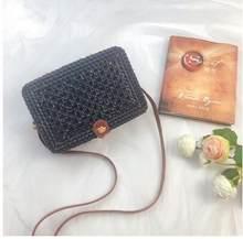 หวายทอกระเป๋าฟางกระเป๋าสะพายชายหาดกระเป๋าถือผู้หญิงฤดูร้อน Hollow Handmade Messenger Crossbody กระเป๋(China)