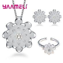Heißer 925 Sterling Silber Hochzeit Halskette Ohrring Ring Sets Braut Schmuck Sets für Frauen Elegante Partei Geschenk Mode Kostüm(China)