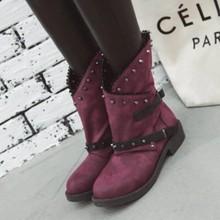 Neue Herbst Frauen stiefel Retro Weibliche Schuhe frau Block Motorrad Booties Plus Größe Schuhe PU Schuhe Niedrigen Ferse Mitte Wade stiefel(China)