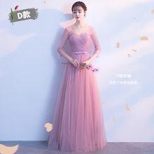 Модное Длинное платье подружки невесты со шнуровкой сзади 2020 элегантное розовое шифоновое платье с бантом и круглым вырезом без рукавов св...(China)