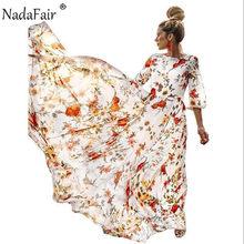 Nadafair Sommer Floral Print Lange Kleid Plus Größe Chiffon O Hals Hohe Taille Strand Maxi Boho Kleider Frauen Vestidos(China)