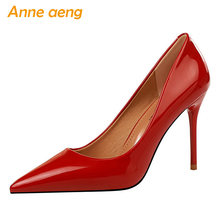 2019 neue Frauen Pumpen 9,5 cm Hohe Dünne Ferse Spitz Solide Shallow Mode Sexy Damen Frauen Schuhe Schwarz Weibliche hohe Ferse Pumpen(China)