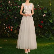 Элегантное розовое шифоновое платье подружки невесты трапециевидной формы, длинное фатиновое платье, лето 2020, новые женские вечерние плать...(China)
