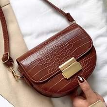 Mewah Fashion Wanita Crossbody Bag Buaya Lingkaran Pelana Tas Lembut Kulit Tas Bahu untuk Wanita Tas Desainer(China)