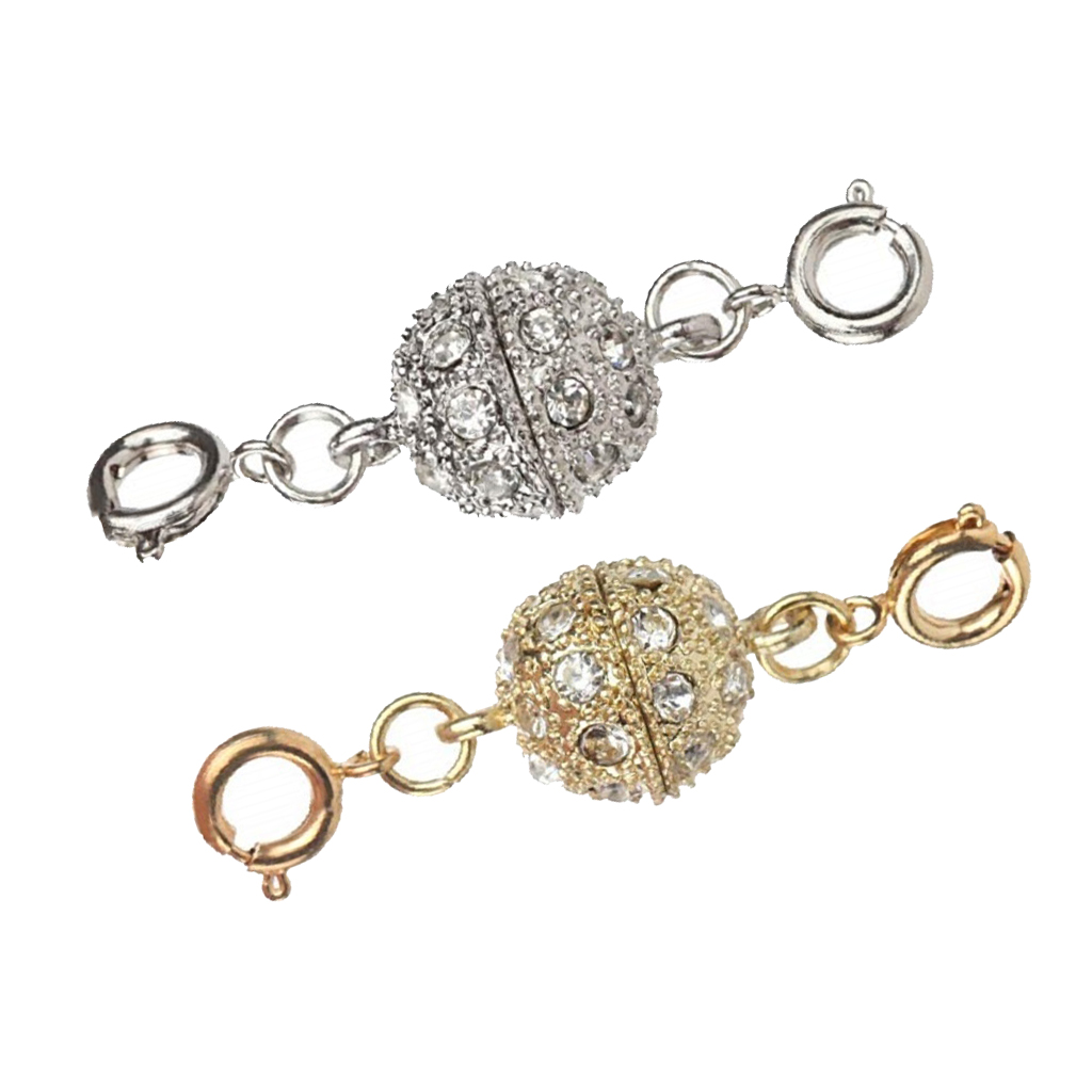 2Pcs Gold Silver Color Ball Magnetic Lobster Clasp for Jewelry Necklace Bracelet DIY Findings Components