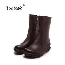 Tastabo 2019 Mùa Thu Và Mùa Đông Nữ Khỏa Thân Của Giày Vintage Giữa Bò Hoang Dã Phong Cách Thường Ngày S99910 Nâu Đen Hàng Ngày Phụ Nữ giày(China)