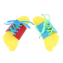 2Pcs Kinder Pädagogisches Spielzeug Kinder Holz Spielzeug Kleinkind Schnürung Schuhe Frühen Bildung Lehrmittel Puzzles(China)