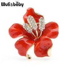 Wuli Bayi Besar Enamel Merah Biru Bunga Bros Wanita Alloy Rhinestone Bunga Pernikahan Perjamuan Bros Pin Hadiah(China)