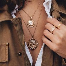 Se me vintage multicamada pingente de cristal colar feminino cor de ouro contas lua estrela chifre crescente gargantilha colares jóias novo(China)