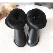 G & Zaco Kış Avustralya Botları Kadın Hakiki Koyun Derisi Deri Kar Botları Doğal Yün Çizmeler Orta Buzağı Düğmesi Sıcak düz ayakkabı(China)