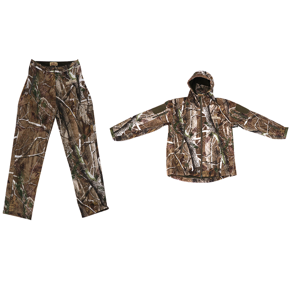 3D Pine Branch Hunting Rainsuit Camo Hooded Jacket Pants, Trousers Camouflage Suit - Breathable