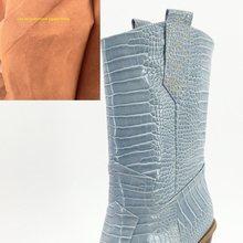 Marke mode geprägte mikrofaser leder frauen stiefeletten spitz western cowboy stiefel frauen keile reiten runway stiefel(China)