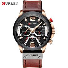 CURREN décontracté Sport montres pour hommes bleu haut marque de luxe militaire en cuir montre-bracelet homme horloge mode chronographe montre-bracelet(China)