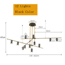 Роскошная дизайнерская столовая длинная люстра, минималистичные современные черные люстры, Pendentes лампы в скандинавском стиле, столовая лам...(China)