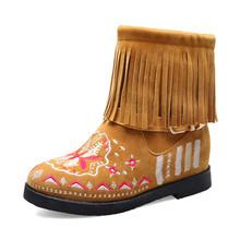 BONJOMARISA yeni Dropship 34-43 sıcak satış etnik patik kadınlar oyalamak yarım çizmeler kadınlar 2020 sonbahar Casual Fringe ayakkabı kadın(China)