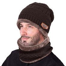 Solid Unisex Beanie Herfst Winter Wol Blend Zachte Warme Mannen Warm Beanie Winter Dikker Hoed En Sjaal Tweedelige knit Winddicht Cap(China)